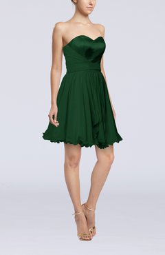 Hunter Green Sexy A-line Zip up Mini Ribbon Graduation Dresses