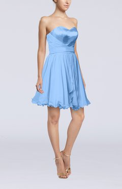 Light Blue Sexy A-line Zip up Mini Ribbon Graduation Dresses