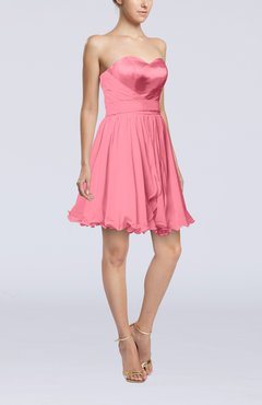 Pink Sexy A-line Zip up Mini Ribbon Graduation Dresses