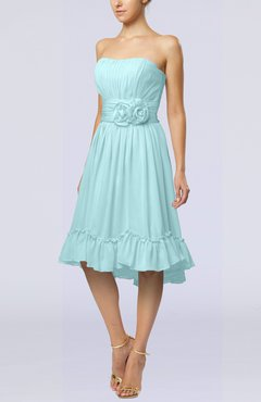 Aqua Romantic A-line Sweetheart Zip up Chiffon Knee Length Homecoming Dresses