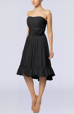 Black Romantic A-line Sweetheart Zip up Chiffon Knee Length Homecoming Dresses