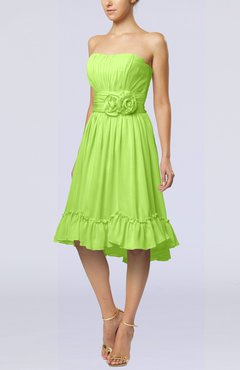 Bright Green Romantic A-line Sweetheart Zip up Chiffon Knee Length Homecoming Dresses