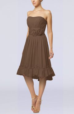Brown Romantic A-line Sweetheart Zip up Chiffon Knee Length Homecoming Dresses