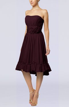 Burgundy Romantic A-line Sweetheart Zip up Chiffon Knee Length Homecoming Dresses