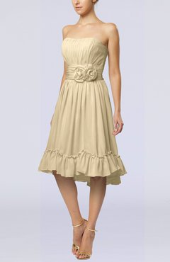 Champagne Romantic A-line Sweetheart Zip up Chiffon Knee Length Homecoming Dresses