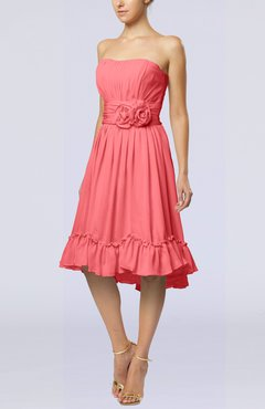 Coral Romantic A-line Sweetheart Zip up Chiffon Knee Length Homecoming Dresses