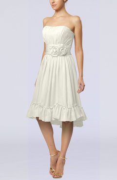 Cream Romantic A-line Sweetheart Zip up Chiffon Knee Length Homecoming Dresses