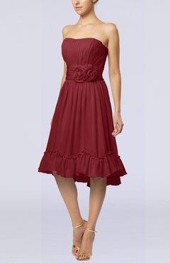 Dark Red Romantic A-line Sweetheart Zip up Chiffon Knee Length Homecoming Dresses
