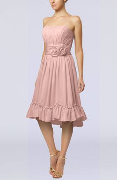 Dusty Rose Romantic A-line Sweetheart Zip up Chiffon Knee Length Homecoming Dresses