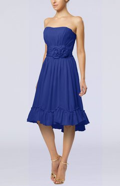 Electric Blue Romantic A-line Sweetheart Zip up Chiffon Knee Length Homecoming Dresses