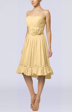 Gold Romantic A-line Sweetheart Zip up Chiffon Knee Length Homecoming Dresses