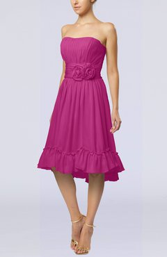 Hot Pink Romantic A-line Sweetheart Zip up Chiffon Knee Length Homecoming Dresses