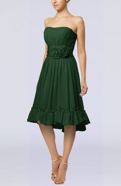 Hunter Green Romantic A-line Sweetheart Zip up Chiffon Knee Length Homecoming Dresses