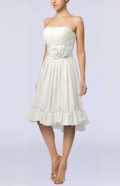 Ivory Romantic A-line Sweetheart Zip up Chiffon Knee Length Homecoming Dresses