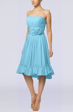 Light Blue Romantic A-line Sweetheart Zip up Chiffon Knee Length Homecoming Dresses