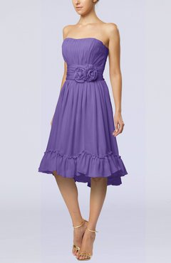 Lilac Romantic A-line Sweetheart Zip up Chiffon Knee Length Homecoming Dresses
