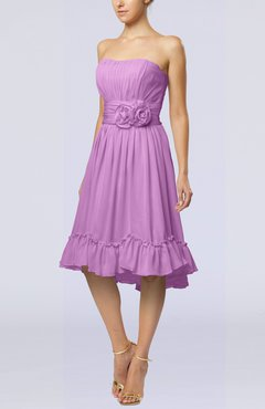 Orchid Romantic A-line Sweetheart Zip up Chiffon Knee Length Homecoming Dresses