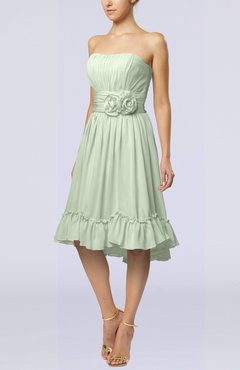 Pale Green Romantic A-line Sweetheart Zip up Chiffon Knee Length Homecoming Dresses