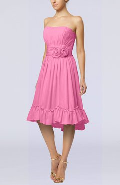 Pink Romantic A-line Sweetheart Zip up Chiffon Knee Length Homecoming Dresses