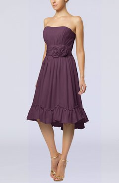 Plum Romantic A-line Sweetheart Zip up Chiffon Knee Length Homecoming Dresses