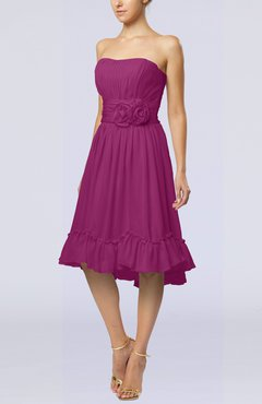 Raspberry Romantic A-line Sweetheart Zip up Chiffon Knee Length Homecoming Dresses
