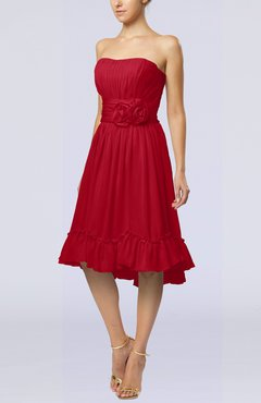 Red Romantic A-line Sweetheart Zip up Chiffon Knee Length Homecoming Dresses