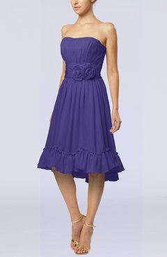 Royal Purple Romantic A-line Sweetheart Zip up Chiffon Knee Length Homecoming Dresses