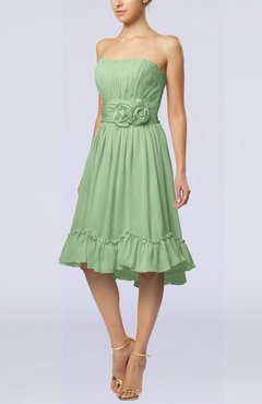 Sage Green Romantic A-line Sweetheart Zip up Chiffon Knee Length Homecoming Dresses