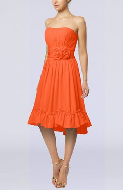 Tangerine Romantic A-line Sweetheart Zip up Chiffon Knee Length Homecoming Dresses