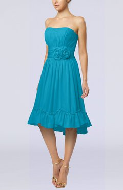 Teal Romantic A-line Sweetheart Zip up Chiffon Knee Length Homecoming Dresses
