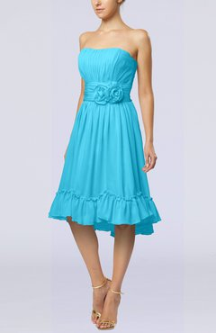 Turquoise Romantic A-line Sweetheart Zip up Chiffon Knee Length Homecoming Dresses