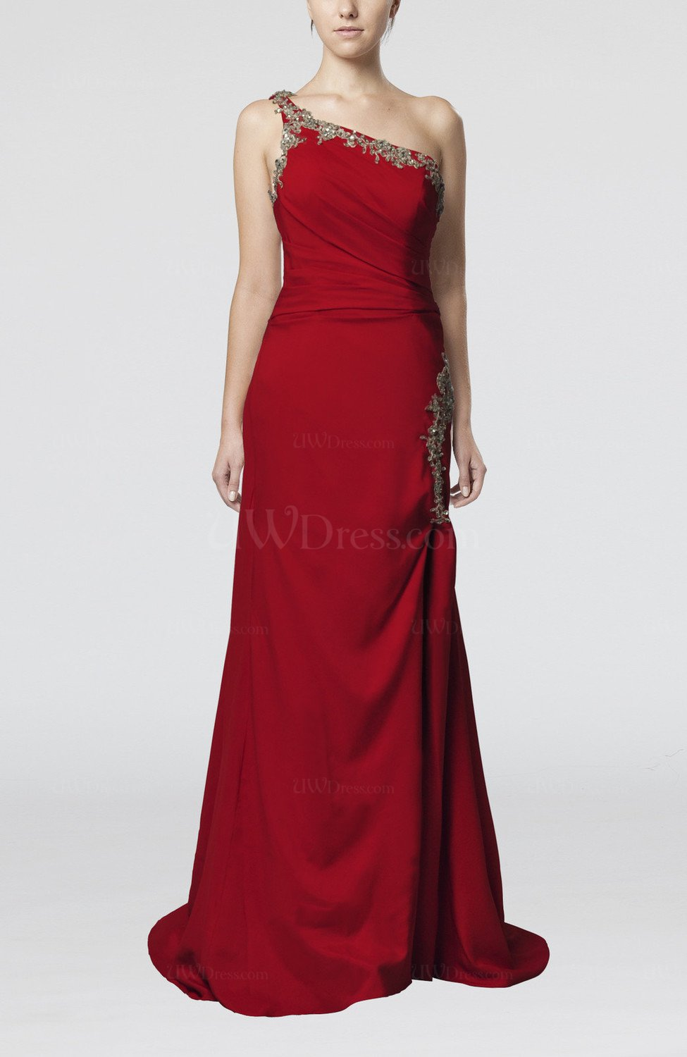 Burgundy elegant sheath one shoulder sleeveless zip up for One shoulder dress for wedding guest