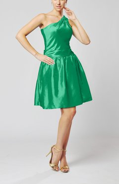 Green Plain A-line Zipper Taffeta Mini Pleated Prom Dresses