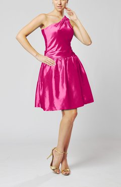 Hot Pink Plain A-line Zipper Taffeta Mini Pleated Prom Dresses