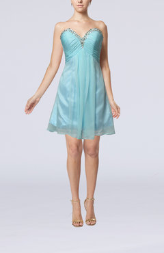 Teal Modest Sweetheart Sleeveless Mini Ruching Wedding Guest Dresses