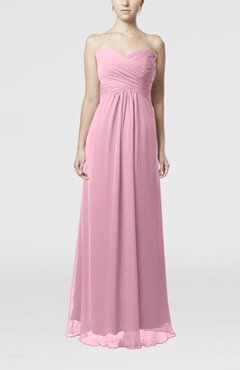 Baby Pink Simple Empire Sweetheart Zipper Ruching Bridesmaid Dresses
