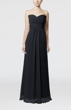 Black Simple Empire Sweetheart Zipper Ruching Bridesmaid Dresses