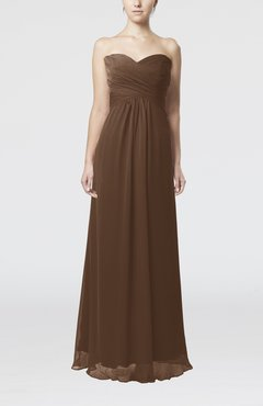 Brown Simple Empire Sweetheart Zipper Ruching Bridesmaid Dresses