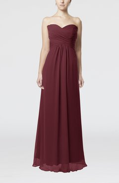 Burgundy Simple Empire Sweetheart Zipper Ruching Bridesmaid Dresses