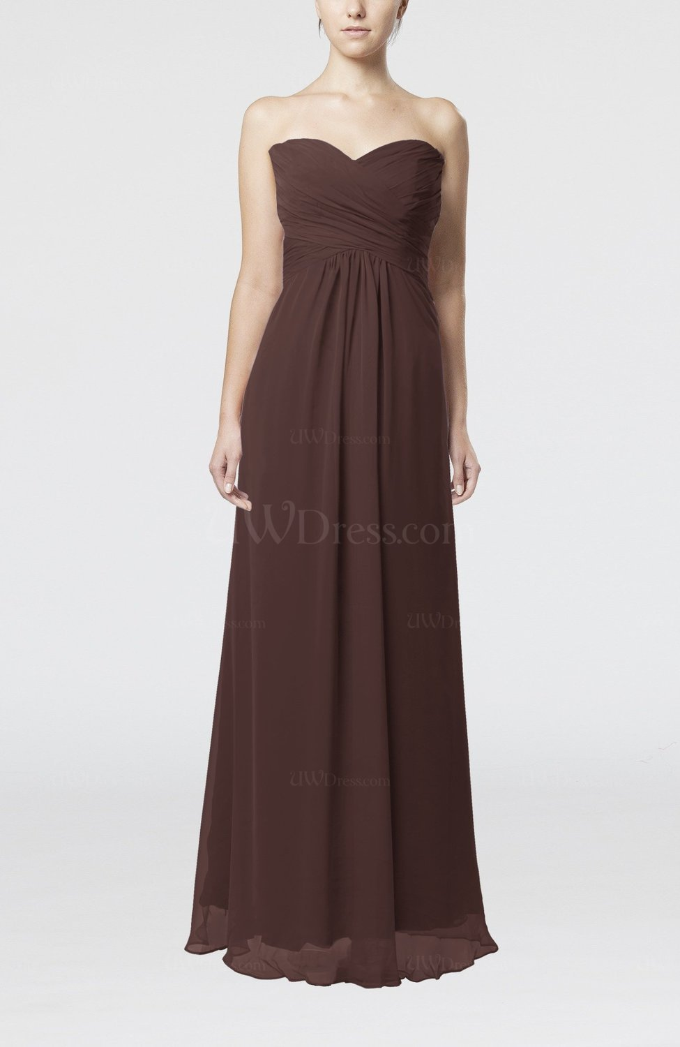 Chocolate brown simple empire sweetheart zipper ruching for Brown dresses for wedding