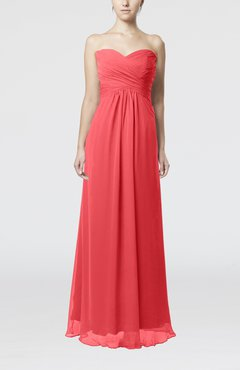 Coral Simple Empire Sweetheart Zipper Ruching Bridesmaid Dresses