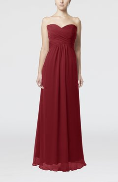 Dark Red Simple Empire Sweetheart Zipper Ruching Bridesmaid Dresses