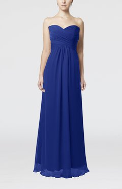 Electric Blue Simple Empire Sweetheart Zipper Ruching Bridesmaid Dresses