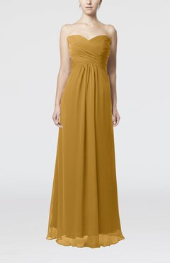 Gold Simple Empire Sweetheart Zipper Ruching Bridesmaid Dresses