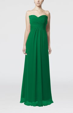 Green Simple Empire Sweetheart Zipper Ruching Bridesmaid Dresses
