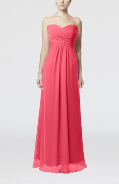 Guava Simple Empire Sweetheart Zipper Ruching Bridesmaid Dresses