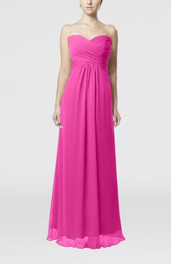 Hot Pink Simple Empire Sweetheart Zipper Ruching Bridesmaid Dresses