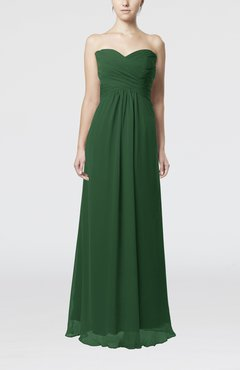 Hunter Green Simple Empire Sweetheart Zipper Ruching Bridesmaid Dresses