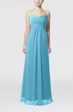Light Blue Simple Empire Sweetheart Zipper Ruching Bridesmaid Dresses