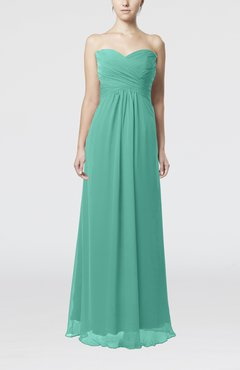 Mint Green Simple Empire Sweetheart Zipper Ruching Bridesmaid Dresses